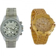 Silver Paidu and Golden Rosra Combo of 2 Stylish Anolog Watches for Mens by SPORTS ONLINE