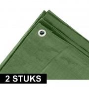 Ben Tools 2x Groene afdekzeilen / dekzeilen 3 x 4 meter - Afdekzeilen