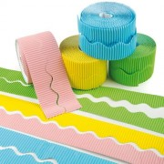 Border Roll - 6 rolls of scalloped corrugated border trim in pastel colours - 2x Yellow, 2x Green, 1x Pink and 1x Blue. Each roll is 2 x 7.5m strips.