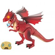 Dino Planet Remote Control Fire Dragon R/C Walking Dragon Toy with Shaking Head, Light up Eyes and Sounds by Liberty Imports
