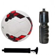 Kit of Premier League Red/Purple Football (Size-5) with Air Pump & Sipper