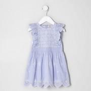 River Island Toddler Girls Blue broderie sleeveless dress (Size 3 - 4 Years)
