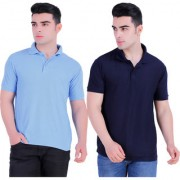 Stars Collection Men's Cotton Polo T- Shirt Comfortable and Stylish T-Shirts with Half Sleeves Blue and Dark Blue