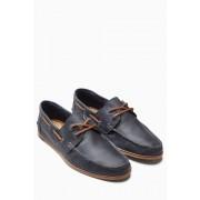 Next Leather Smart Boat Shoe - Navy - Mens