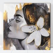 Tablou Canvas Artistic Femeie Cu Floare la Ureche MART16 (Optiuni Tablou: 120x120cm)