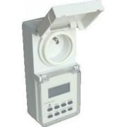 Dugaszolható elektronikus kapcsolóóra, heti,csapos aljzattal - 230V, 16A, IP44 TKO-DHEVF - Tracon