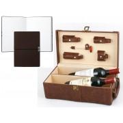 Set Cutie Dubla de Vin din Piele Maro cu Accesorii si Note Burgundy Pad Hugo Boss