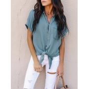 Meco Casual Women Loose Short Sleeve Button Denim Shirts