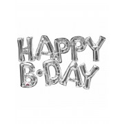 Vegaoo Happy Birthday - Aluminium ballong i silver 78 cm One-Size