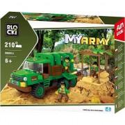 Joc constructie Blocki, Camion militar in jungla, 210 piese, Robentoys