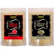 Donnara Organics 100% Natural Hibiscus Powder and Kaunch Beej powder Combo pack of 2 of 150 gms(300 gms)