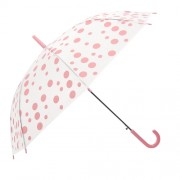 Clayre & Eef JZCUM0005 Gyerek esernyő műanyag 90x55cm, átlátszó-rózsaszín pöttyös