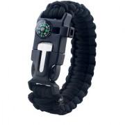 Futaba Survival Bracelet Flint Fire Starter Gear With Compass - Black
