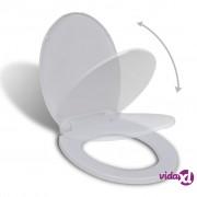 vidaXL WC Daska s Mehanizmom Tihog Zatvaranja Bijela Ovalna