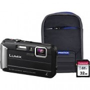 Panasonic Digital Camera Lumix DMC-FT30 16 Megapixel Black + 32GB Micro SD Card + Case
