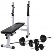 vidaXL Bancă fitness cu rastel greutăți, set haltere/gantere, 30,5kg
