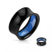25 mm Double-flared tunnel zwart met blauwe glitters