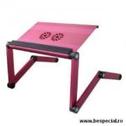 Suport roz pentru laptop din aluminiu cu ventilatoare