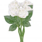 Geen 5x Witte rozen/roos kunstbloemen 27 cm