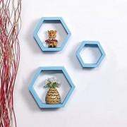 Onlineshoppee Fancy Set of 3 Hexagonal Shape MDF Wall Shelf Big Size ( 10.5 x 4x 10.5) inch Color- Sky Blue