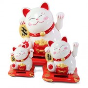 Set Of 3: Small Medium & Large White Happy Beckoning Fortune Happy Cat Family Maneki Neko Solar Toy Home Decor Business Part Gift ~We Pay Your Sales Tax