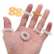 PeNeede Spring Fidget Ring (Pack of 10) - Hand Anti Stress Anxiety Ring Fidgit Sensory Toy - Finger Acupressure Massage Rings