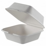 Caserola Biodegradabila, 15x15 cm, 25 Buc/Set, Doua Compartimente, Caserola din Trestie de Zahar, Caserole Albe si Ecologice