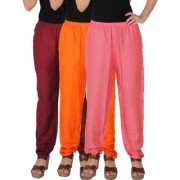 Culture the Dignity Women's Rayon Solid Casual Pants Office Trousers With Side Pockets Combo of 3 - Maroon - Orange - Baby Pink - C_RPT_MOP2 - Pack of 3 - Free Size