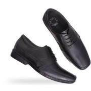 Groofer Men's Black Genuine Leather Lace-Up Formal Shoes
