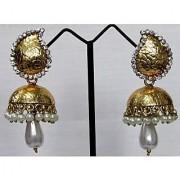 Golden stone jhumka earring