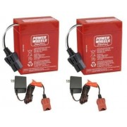 Power Wheels 2 Pack of 6 Volt Red Batteries and 2 6 Volt Chargers