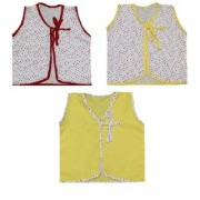 Krivi Set of 3 Front Open Sleeveless Top For New Born Baby (0-3 Month) UNISEX
