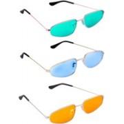 TheWhoop Oval Sunglasses(Orange, Blue, Green)