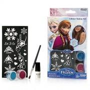 Disney Frozen Glitter Tattoo Kit with Stencils Brush Glue 2 Color Glitters