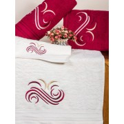 Set de 6 prosoape baie Valentini Bianco Red