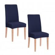 Set Husa scaun dining/bucatarie, din spandex, culoare bleumarin, 2 buc/set