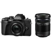Aparat Foto Mirrorless Olympus E-M10 MARK III Pancake Double Zoom, 16.1 MP, Filmare 4K, WI-FI (Negru) + Obiectiv