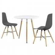 PremiumXL - [en.casa] Okrugli blagovaonski stol (bijeli) - sa 3 stolice (siva)