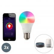 LUEDD Set di 3 lampade a LED dimmerabili E27 Wifi Smart con app dimmerabile 9W 806lm 2700-6500K