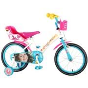 Bicicleta pentru fete 16 inch, cu scaun pentru papusi, roti ajutatoare si cosulet, Soy Luna