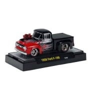 1956 Ford F-100 (Black w/ Flames) * M2 Machines Ground Pounders Release 10 * 2012 Castline Premium Edition 1:64 Scale Die-Cast Vehicle (12-09)