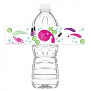 Pop Parties Spa Party Bottle Wraps - Set Of 20 Water Labels Decorations Made In The Usa