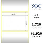 Etichette SQC - Carta termica (bobina), formato 58 x 40