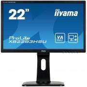 iiyama 21,5' 1920x1080, 13cm Height Adj. Stand, Pivot, 250cd/m², Speakers, DisplayPort, DVI, VGA, USB-HUB 2x2.0, 5ms