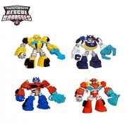"Hasbro 3.5"" Hasbro Playskool Heroes Transformers Rescue Bots Figures Set of 4 - Bumblebee Chase the Police-Bot Optimus Prime Heatwave the Fire-Bot"