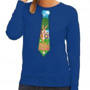 Shoppartners Pasen sweater blauw met paashaas stropdas voor dames M Blauw