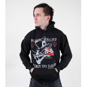 kapucnis pulóver férfi - Born To Lose - BLACK HEART - Black