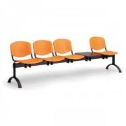 Kovo Praktik Plastové lavice ISO II, 4-sedák + stolek, černé nohy modrá