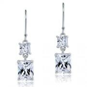 Ezüst fülbevaló, négyzet alakú kristállyal - 925 ezüst ékszer