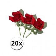 Merkloos Bosje nep rozen rood 30 cm Kunstbloem 20x